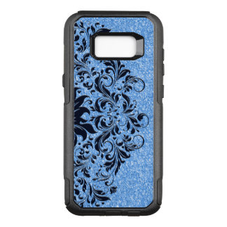 Light Blue Glitter & Dark Blue Floral Lace Design OtterBox Commuter Samsung Galaxy S8+ Case