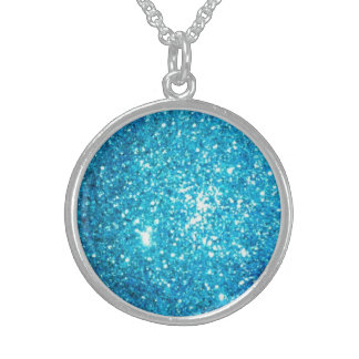 Light Blue Glitter Round Pendant Necklace
