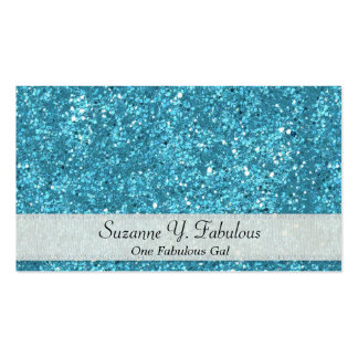 Light Blue Glitter with Ribbon Business Cards