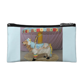 Light Blue Golden Retriever Carousel Horse Cosmetic Bag