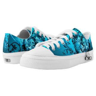 Light Blue Gothic Heart Grunge Design Printed Shoes