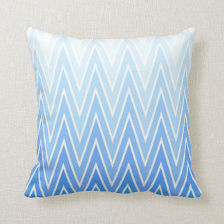 Light Blue Gradient Ombre Chevron Pattern Cushion
