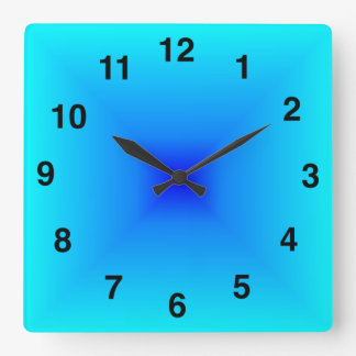Light Blue Gradient Square Wall Clock