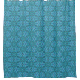 Light Blue & Green Abstract Floral Pattern Design Shower Curtain