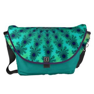 Light Blue Green Celtic Fractal Messenger Bag