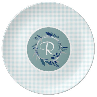 Light Blue Green Gingham Plaid Monogrammed Wreath Plate