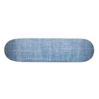 Light Blue Grunge Burlap Texture Skate Deck
