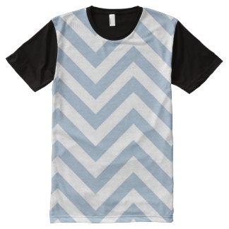Light Blue Grunge Textured Chevron All-Over Print T-Shirt