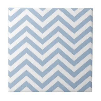 Light Blue Grunge Textured Chevron Ceramic Tile