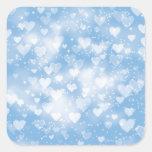Light Blue Heart bokeh Square Sticker