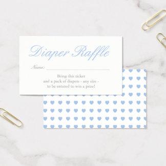 Light Blue Hearts Diaper Raffle Card