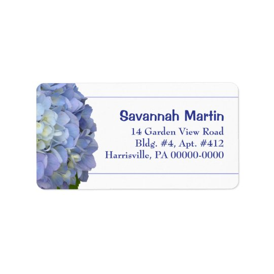 Light Blue Hydrangea Address Label Template