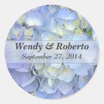 Light Blue Hydrangea Wedding Favour Labels Round Stickers