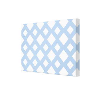 Light Blue Lattice on White Canvas Print