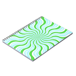 Light Blue & Lime Psychedelic Stripe Notebook