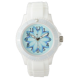 Light Blue Lotus Flower Numbers Watch