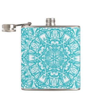 Light Blue Mandala Pattern Hip Flask