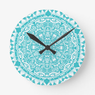 Light Blue Mandala Pattern Round Clock