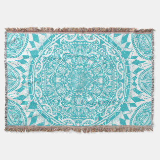 Light Blue Mandala Pattern Throw Blanket