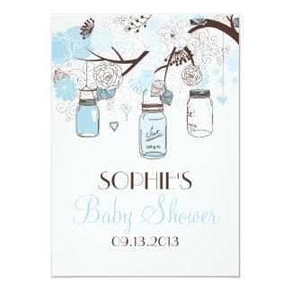 Light Blue Mason Jars Baby Shower Invitations