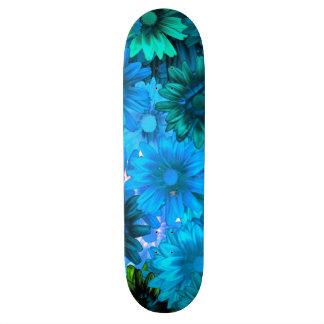 Light blue modern floral pattern skate board deck