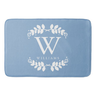 Light Blue Monogram Bath Mat