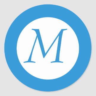Light Blue Monogrammed Sticker