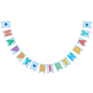 LIGHT BLUE MULTICOLORED ☆ HAPPY ☆ BIRTHDAY ☆ SIGN BUNTING