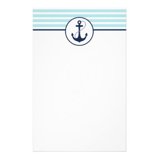 Light Blue Nautical Anchor Stationery