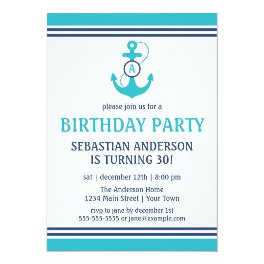 Light Blue Nautical Birthday Party Invites