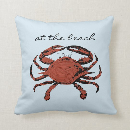 Light Blue Nautical Crab Beach | Home Throw Pillow
