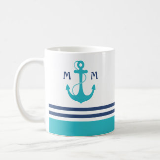 Light Blue Nautical Monogram Coffee Mug