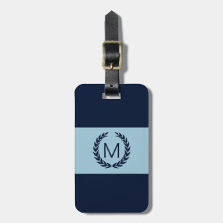 Light blue & Navy Stripe Laurel Wreath Monogram Luggage Tag