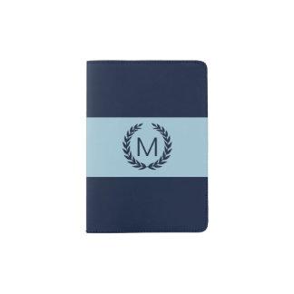 Light Blue & Navy with Laurel Wreath Monogram Passport Holder