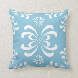 Light Blue Nouveau Flourish Decor Pillow