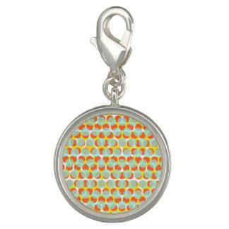 Light Blue Orange Yellow Dot Round Charm