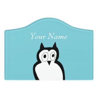 Light blue owl bedroom name plate. door sign