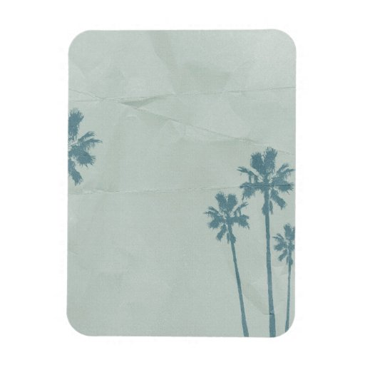 LIGHT BLUE PALM TREES crumpled PAPER TEXTURE DIGIT Rectangle Magnets