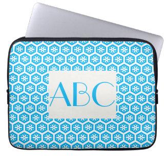 Light Blue Patterned Monogrammed Laptop Sleeve