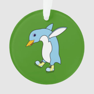 Light Blue Penguin with Blue & Yellow Ice Skates