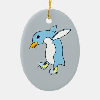 Light Blue Penguin with Blue & Yellow Ice Skates Ceramic Oval Decoration