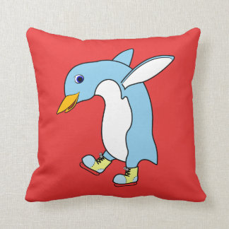 Light Blue Penguin with Blue & Yellow Ice Skates Cushions