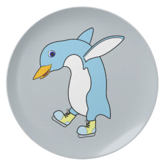 Light Blue Penguin with Blue & Yellow Ice Skates Dinner Plates