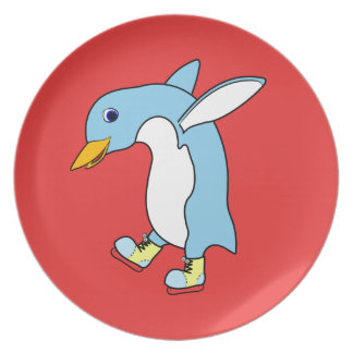 Light Blue Penguin with Blue & Yellow Ice Skates Party Plates