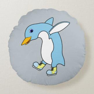Light Blue Penguin with Blue & Yellow Ice Skates Round Cushion