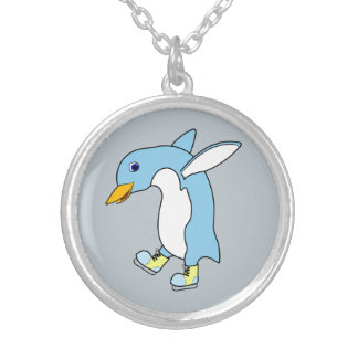 Light Blue Penguin with Blue & Yellow Ice Skates Round Pendant Necklace