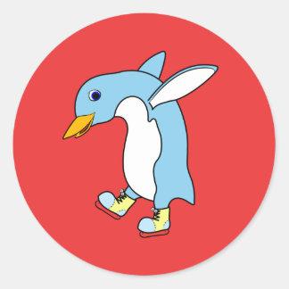 Light Blue Penguin with Blue & Yellow Ice Skates Round Sticker
