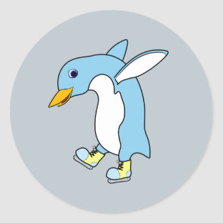 Light Blue Penguin with Blue & Yellow Ice Skates Round Sticker