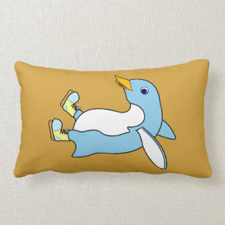Light Blue Penguin with Blue & Yellow Ice Skates Throw Cushion
