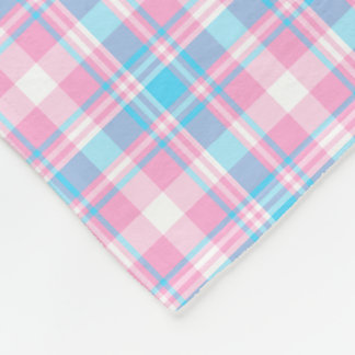 Light Blue, Pink and White Plaid Fleece Blanket